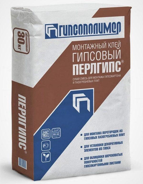 Клей гипсовый монтажный Гипсополимер Перлгипс, 30 кг
