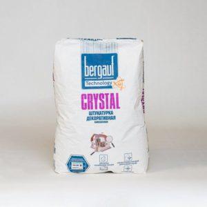 Штукатурка декоративная Bergauf Crystal камешковая Шуба, зерно белоснежная 2мм, 25 кг
